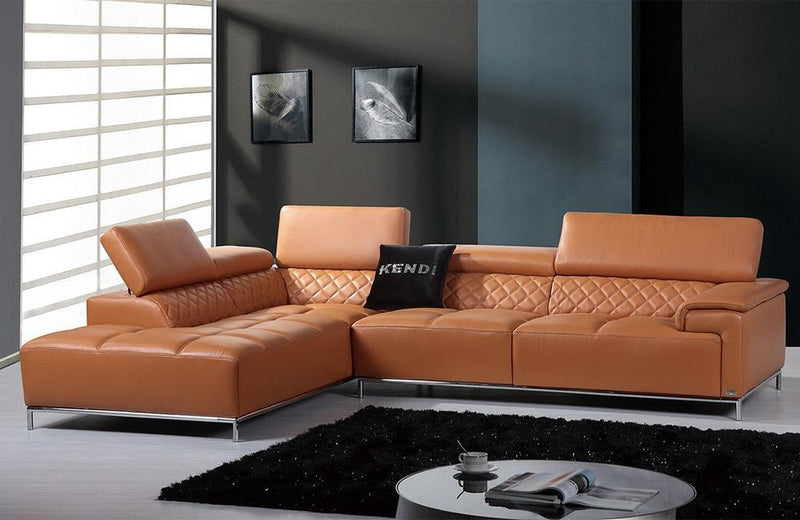 Dakota  Modern Orange Italian Leather Sectional Sofa