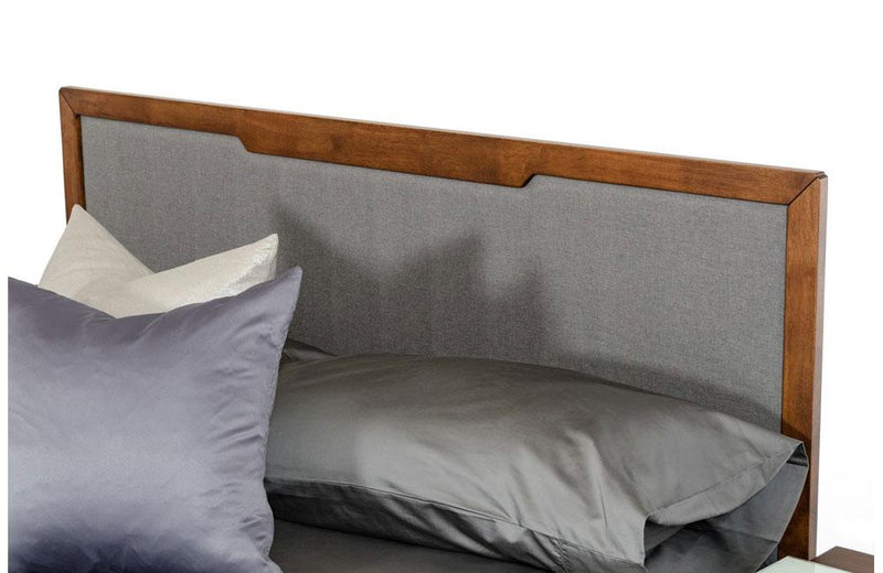 Soria Modern Gray & Walnut Bed
