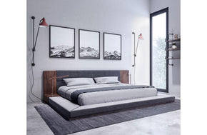 Jagger Modern Dark Gray & Walnut Bed
