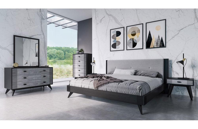 Panther Contemporary Gray & Black Bedroom Set