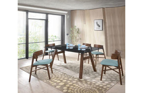 Travis Modern Blue & Walnut 7 PC Dining Set