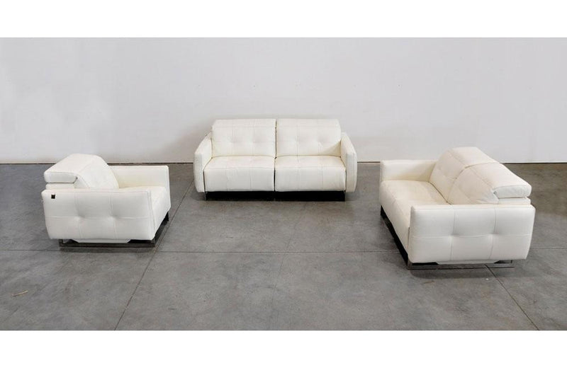 Duca Modern Leather 3 PC Sofa Set White