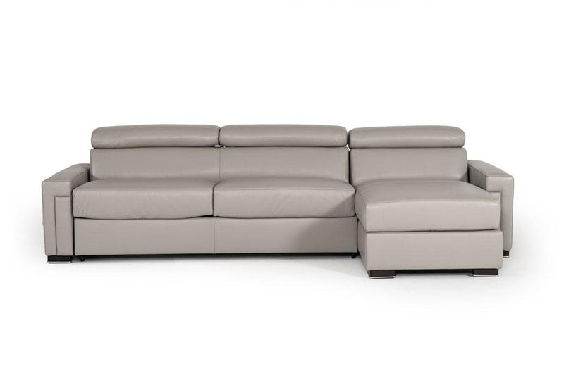 Sacha Modern Leather Reversible Sofa Bed Sectional Gray