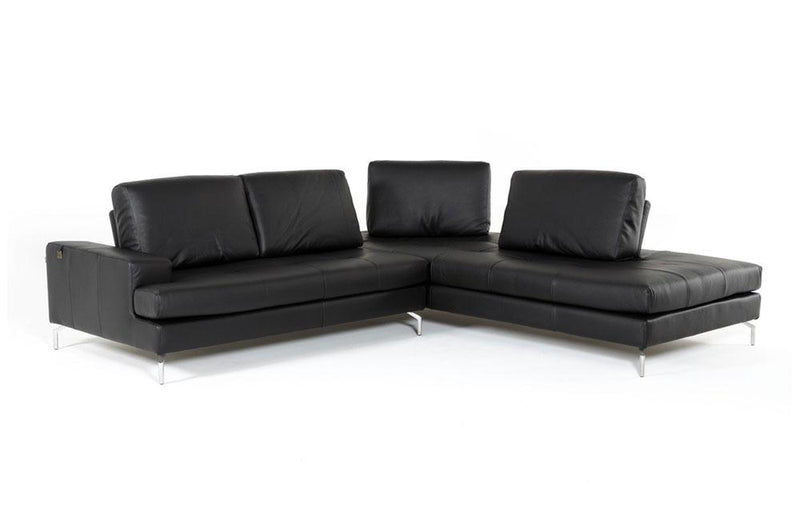 Voyager Modern Leather Sectional Sofa Black