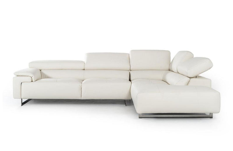 Wish Modern Leather Sectional Sofa White
