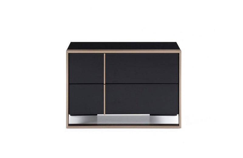 Cartier Modern Black & Brushed Bronze Nightstand