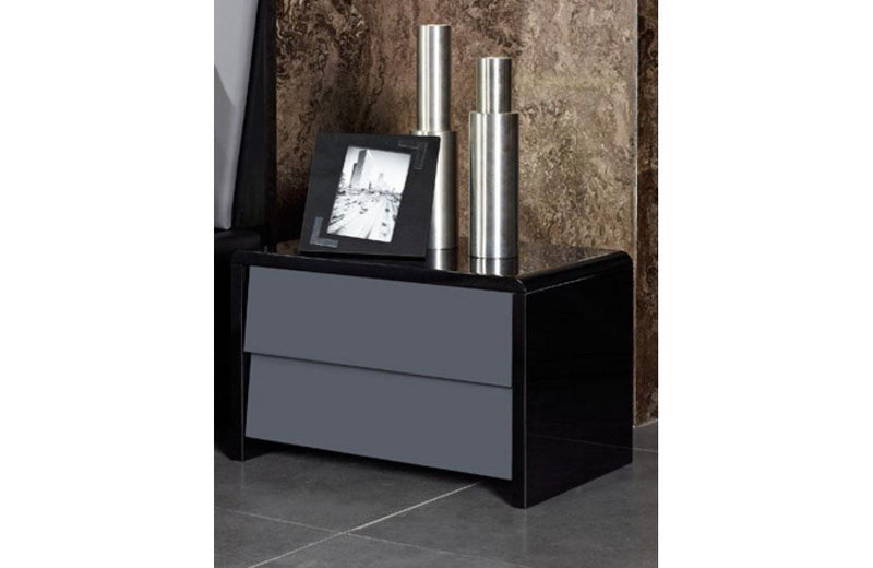 Stone Modern Gray & Black Nightstand