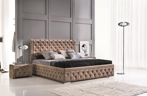 Valerie Platform Upholstered Bed in Sahara Gold by Nordholtz