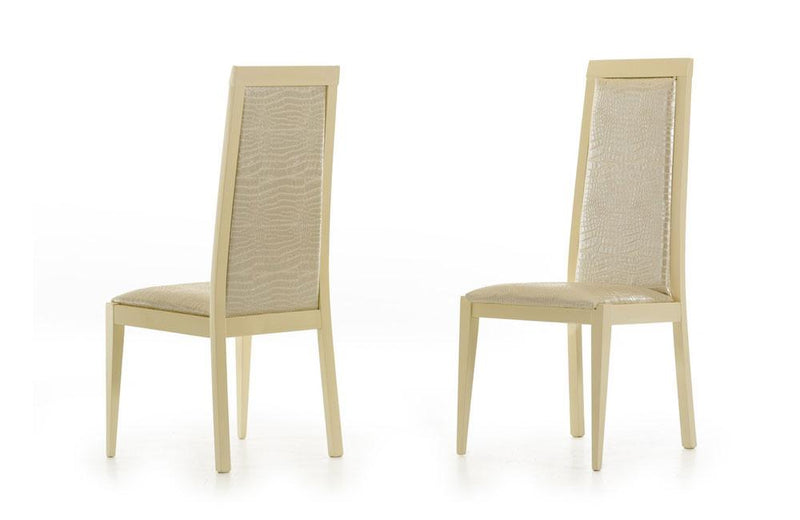 Ancona Modern Beige Crocodile Eco-Leather Dining Chair