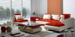 Angelo Modern White & Red Leather Sectional Sofa Set