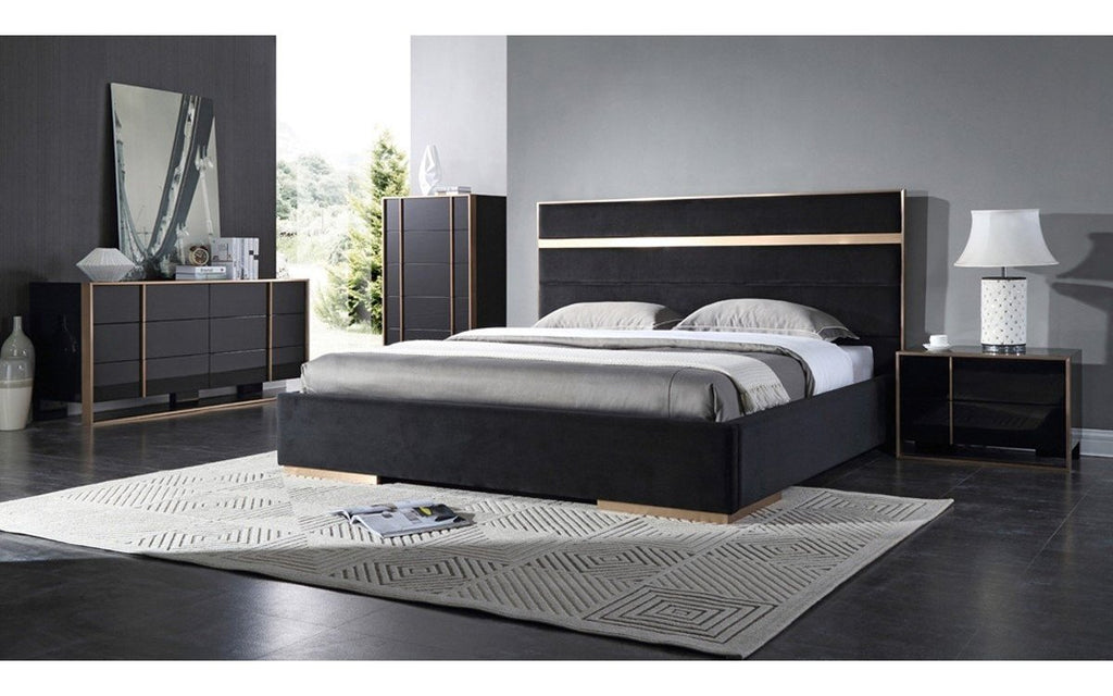 Cartier Modern Black Brushed Bronze Bedroom Set