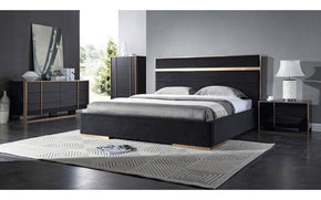 Cartier Modern Black & Brushed Bronze Bedroom Set