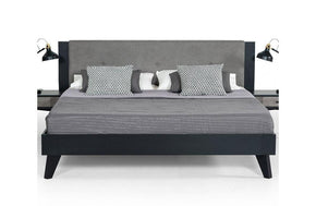 Panther Contemporary Gray & Black Bed