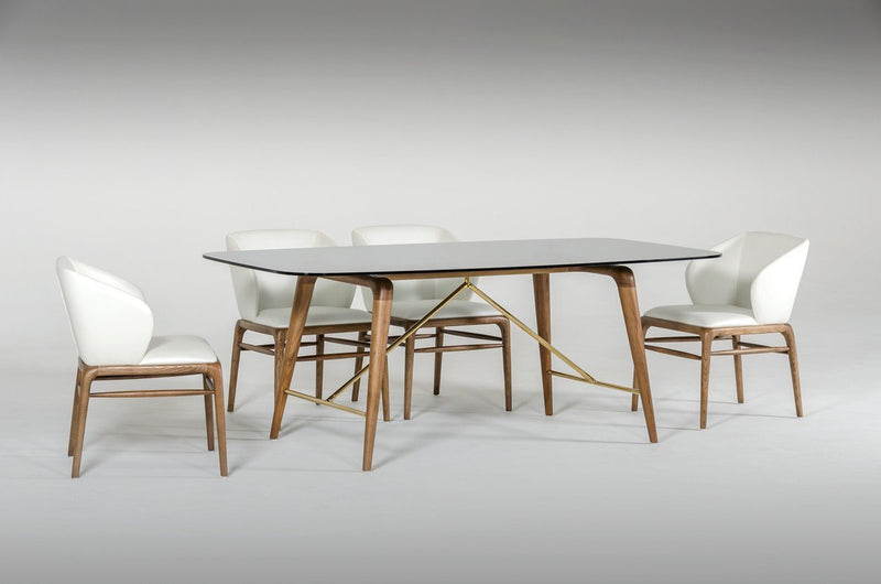 Asher Modern Smoked Glass & Walnut Dining Table