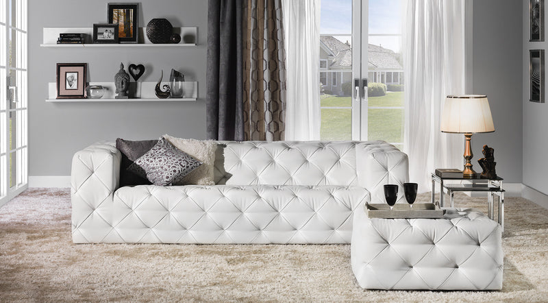 Bonn White Leather Tufted Sofa