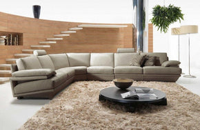 Sergio Modern Grey Leather Sectional