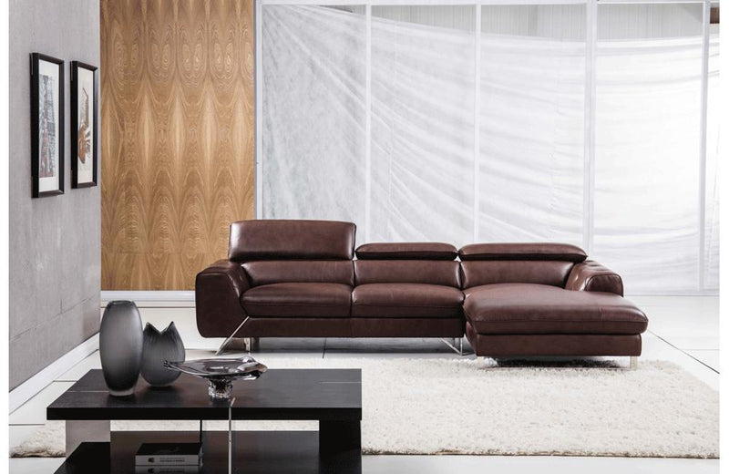 Aletta Brown Leather Sectional Sofa