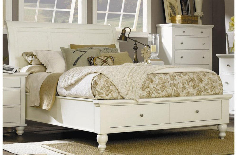 Cambridge Sleigh Storage Bed Eggshell