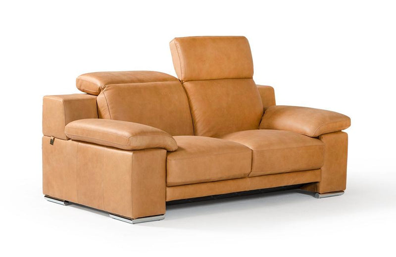 Evergreen Italian Modern Leather 3 PC Sofa Set Beige