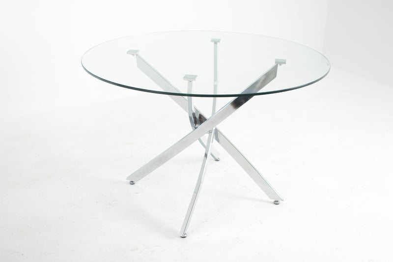 Gala Round Glass with Light Grey Chairs
