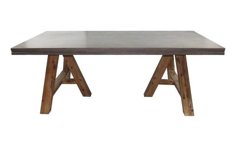 Civic Modern Concrete & Acacia Dining Table