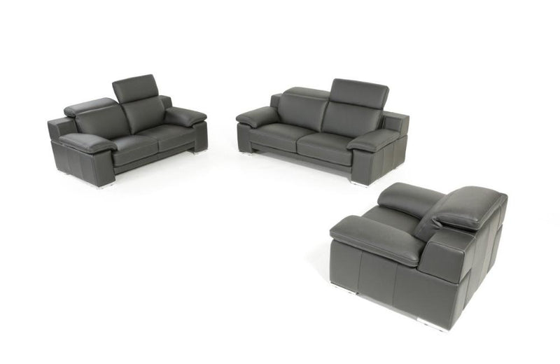 Evergreen Italian Modern Leather 3 PC Sofa Set Black