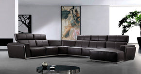 Tempo Contemporary Leather Sectional Sofa Brown