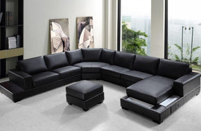 Phoebe Modern Bonded Leather Sectional Sofa