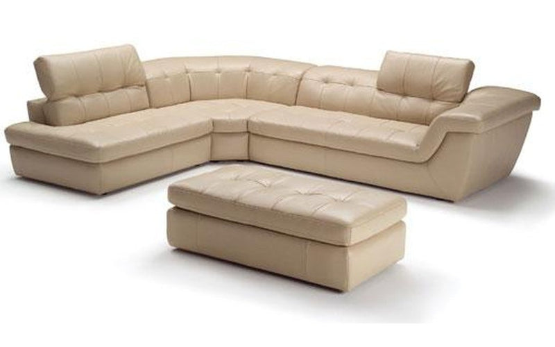 397 Beige Leather Sectional Sofa