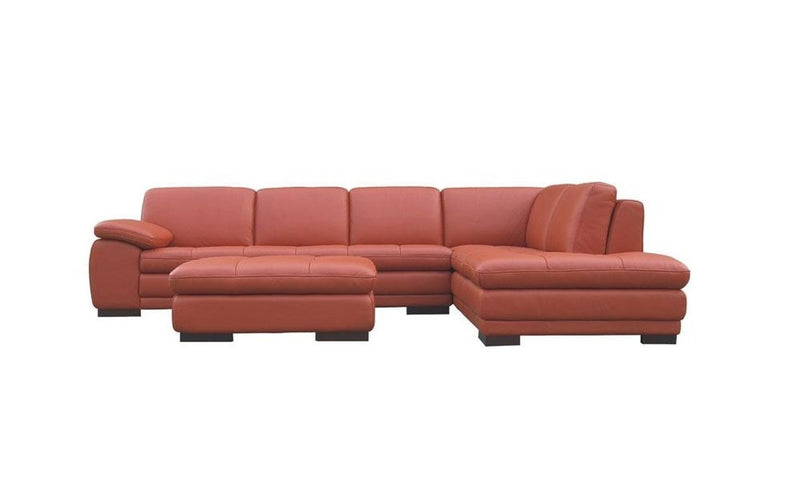 Giuseppe Orange Leather Sectional Sofa