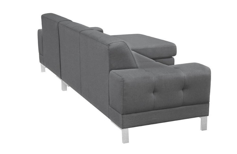 Kameron Divani Casa Forli Modern Grey Fabric Sectional Sofa w/ Right Facing Chaise