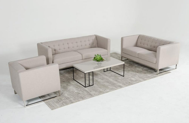 Giuliana Modern Gray Fabric 3 PC Sofa Set