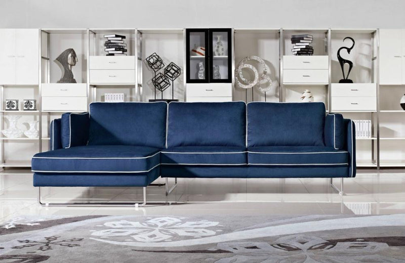 Gregory Modern Blue Fabric Sectional Sofa