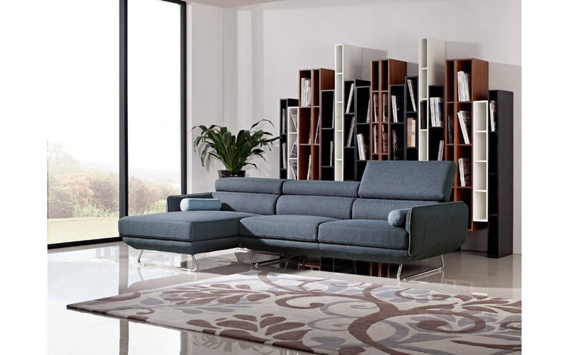 Pierce Modern Blue Fabric Sectional Sofa