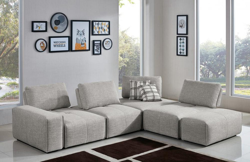 Bianca Modern Grey Fabric Modular Sectional Sofa