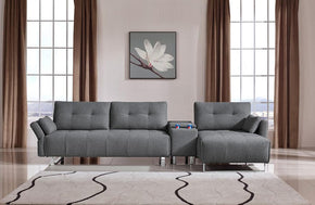 Luna Modern Grey Fabric Sectional Sofa