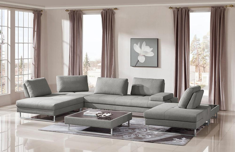 Fiona Modern Grey Fabric Sectional Sofa & Coffee Table Set