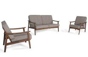 Omar Modern Sesame & Walnut Sofa Set