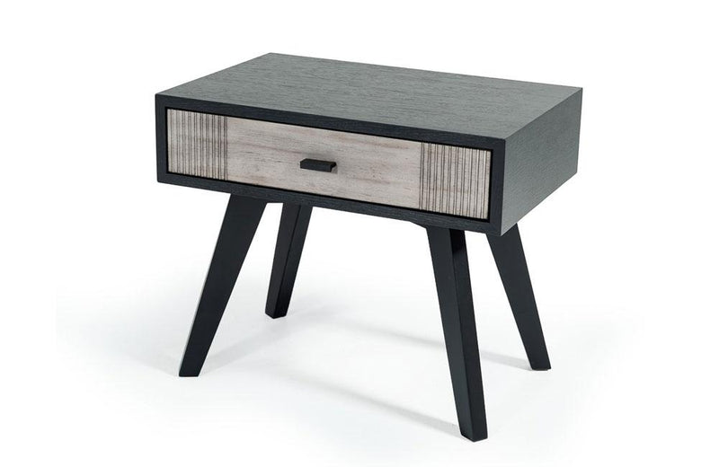 Panther Contemporary Gray & Black Nightstand