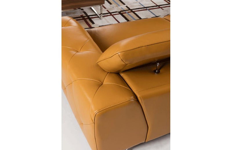 Aletta Yellow Leather Sectional Sofa