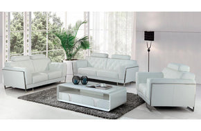 Paris Modern White Leather Sofa Set