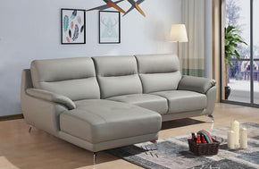 Nadia Modern Grey Eco-Leather Sectional Sofa Left Facing Chaise