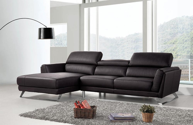 Alexia Modern Black Eco-Leather Sectional Sofa
