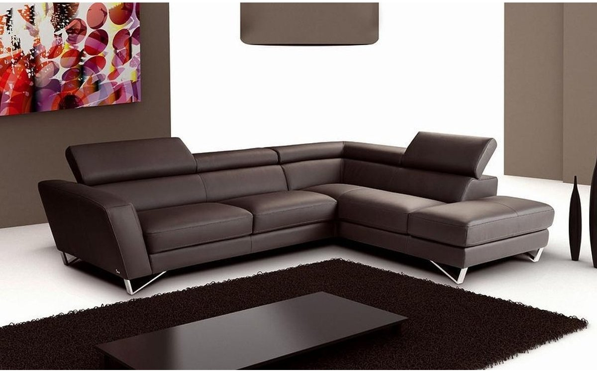 Awesome Sparta Chocolate Leather Sectional Sofa Spiritservingveterans Wood Chair Design Ideas Spiritservingveteransorg