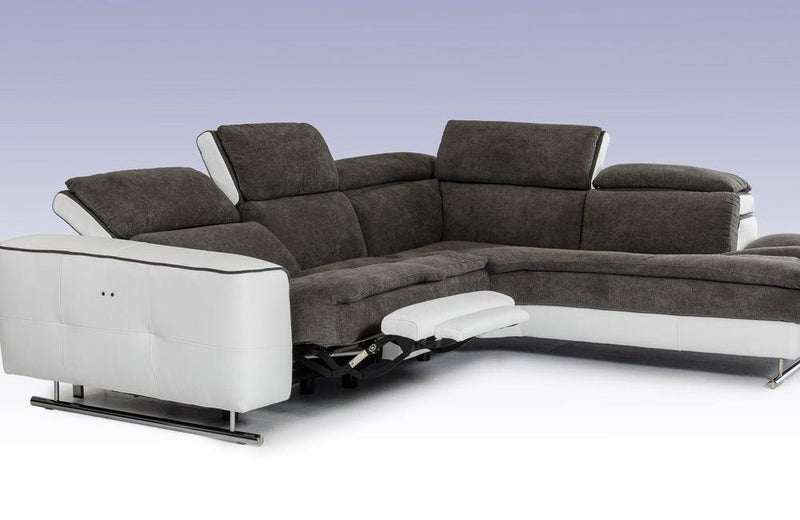 Starlight Italian Modern Gray & White Fabric & Leather Sectional Sofa