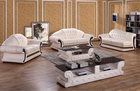 Miriam Classic Cream Leather Sofa Set