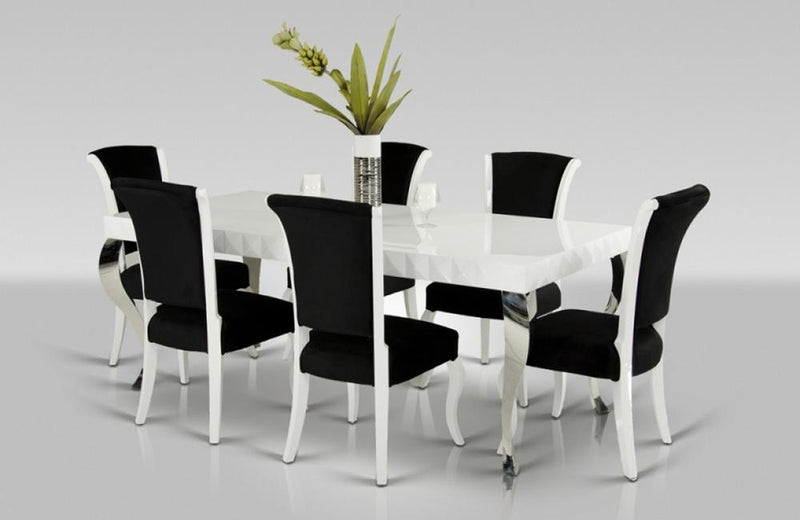 Bryan Modern White & Black Dining Set