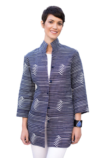 Rita in Navy Wave Linen