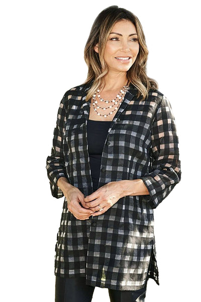 Rita in Black Sheer Plaid