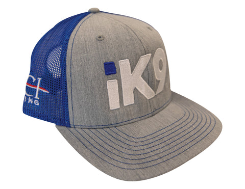 iK9 Trucker Mesh Snap-back Hat, Heather Grey/Blue